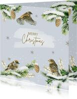 Kerstkaart vogels op takjes winter