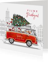 Kerstkaart volkswagen busje rood met gezin