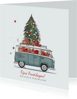 Kerstkaart volkswagenbusje met kerstboom
