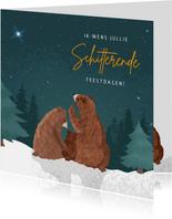 Kerstkaart voor eerste kerst samen met illustratie van beren