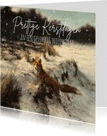 Kerstkaart vos in open winterbos