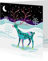 Kerstkaart vrolijk rendier in de sneeuw
