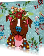 Kerstkaart vrolijke hond, bloemen en planten