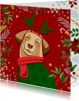 Kerstkaart vrolijke hond en kerststerren