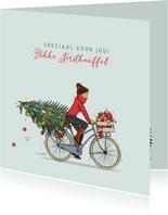 Kerstkaart vrouw met fiets kerstboom