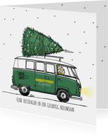 Kerstkaart VW bus groen met boom
