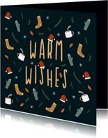 Kerstkaart warm wishes met leuke illustraties