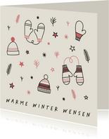 Kerstkaart warme winter wensen met leuke illustraties