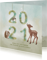 Kerstkaart waterverf 2021 met dieren