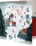 Kerstkaart winter cozy ski landschap