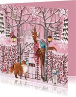 Kerstkaart Winter Dieren Bos