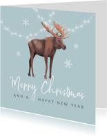 Kerstkaart winter eland lampjes sneeuwvlokken illustratie