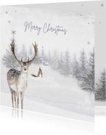 Kerstkaart winter hert