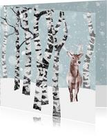 Kerstkaart winter met hert