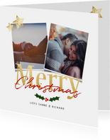 Kerstkaart wit vierkant 2 foto's - een gouden kerst