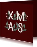 Kerstkaart 'Xmas' met takjes