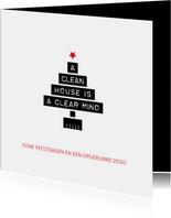 Kerstkaart zakelijk a clean house is a clear mind