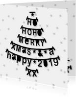 Kerstkaart zakelijk kerstboom letterslingers