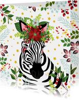 Kerstkaart zebra met kerstster