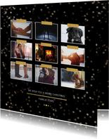 Kerstkaart zwart en goud voor 9 foto's - Een gouden kerst