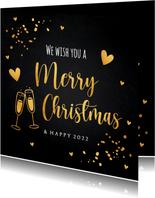 Kerstkaart zwart goudlook typografie champagne hartjes