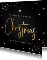Kerstkaart zwart goudlook typografie