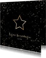 Kerstkaart zwart kerstster van goud - Een gouden kerst