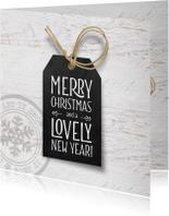 Kerstkaart zwart label wit hout