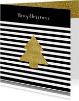 Kerstkaart zwart wit goud kerst ster goud