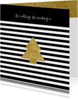Kerstkaart zwart wit goud - OT