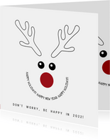 Kerstkaart zwart-wit met grappige illustratie rendier 2022