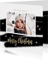 Kerstkaart zwart wit streep foto