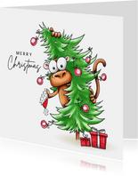 kerstkaarten aap met kerstboom en Corona de wereld uit
