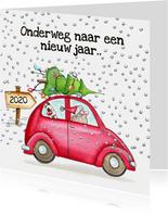 Kerstkaarten auto onderweg