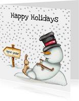 Kerstkaarten slapende sneeuwpop