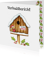 Kerstkaarten verhuiskaart vogelhuis