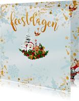 Kerstman met Rudolf, kerstboom en vogeltje met kerstbal