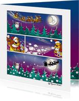 Kerstman strip Loeki in de arreslee