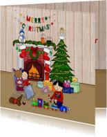 Kerstmis Knus bij de open haard