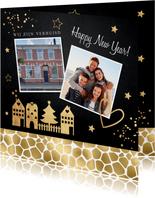 Kerstverhuiskaart foto huisjes panterprint goudlook