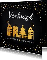 Kerstverhuiskaart gouden confetti huisjes