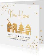 Kerstverhuiskaart huisjes goudlook confetti