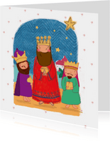 Kinder kerstkaart met de drie koningen