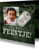 Kinderfeestje army stoer met foto en legerplaatje