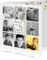 Kinderfeestje collagekaart met draad goud 1