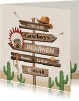 Kinderfeestje cowboys indianen wegwijzers western hout