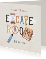Kinderfeestje escaperoom mysterie detective uitnodiging