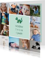 Kinderfeestje kaart met fotocollage en dino