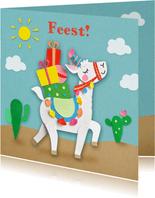 Kinderfeestje lama met cadeautjes uitnodiging