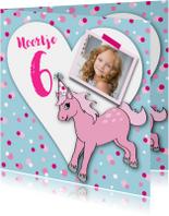 Kinderfeestje meisje pony foto hart